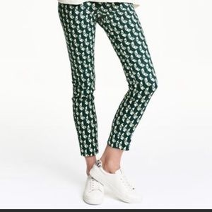 NWT H&M Geometric Print Green White Stretchy Pants